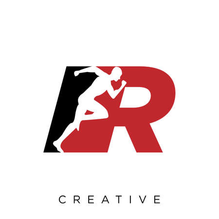 r run logo design vector icon symbol