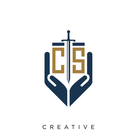cs hand sword logo design vector icon symbol Logó