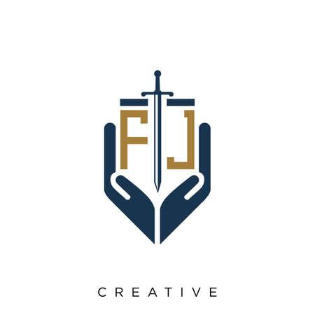 fj hand sword logo design vector icon symbol