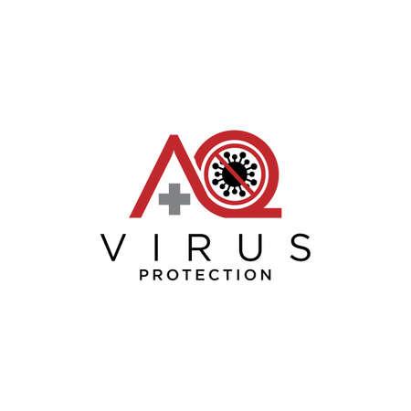 aq protection virus  logo design vector icon symbol initials Illusztráció