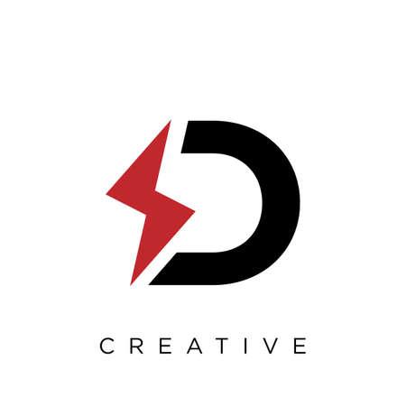 d electric  logo design vector icon symbol initials