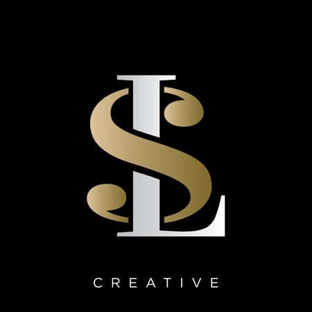 sl logo design vector icon symbol luxury