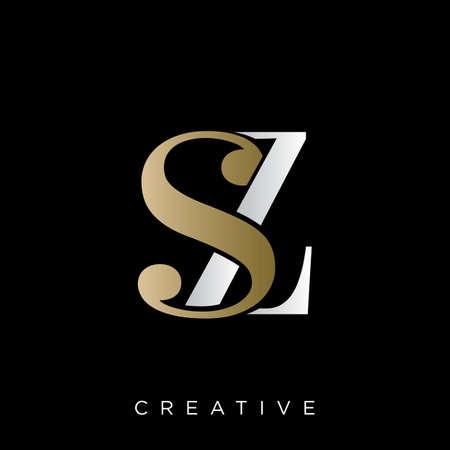 sz  logo design vector icon symbol initials luxury Illusztráció