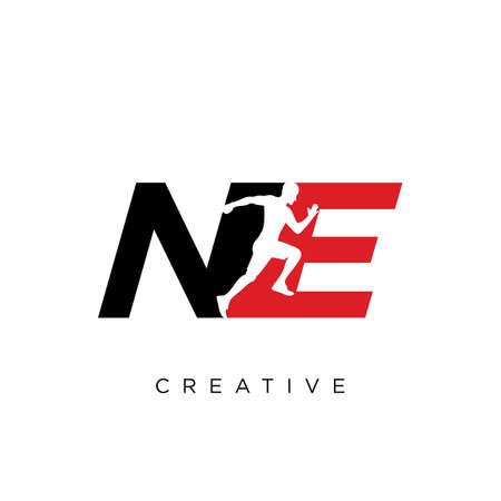 ne logo run human design vector icon symbol luxury