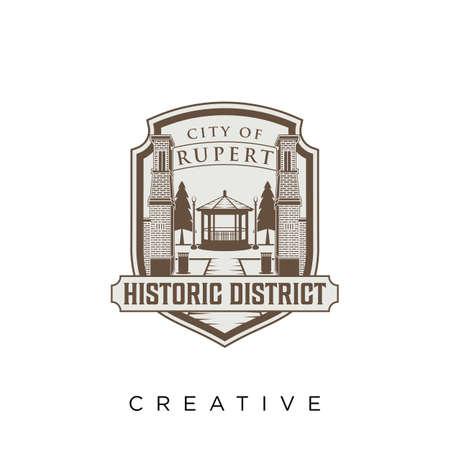 gate building   design vector icon symbol Illusztráció