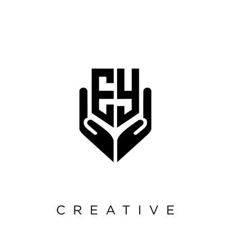 ey hand shield  logo design vector icon symbol luxury