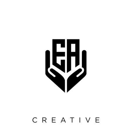 ea hand shield  logo design vector icon symbol luxury Illusztráció