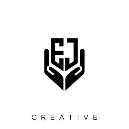 ej hand shield  logo design vector icon symbol luxury