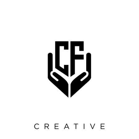 cf hand shield  logo design vector icon symbol luxury Illusztráció