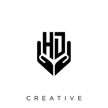 hd hand shield  logo design vector icon symbol luxury