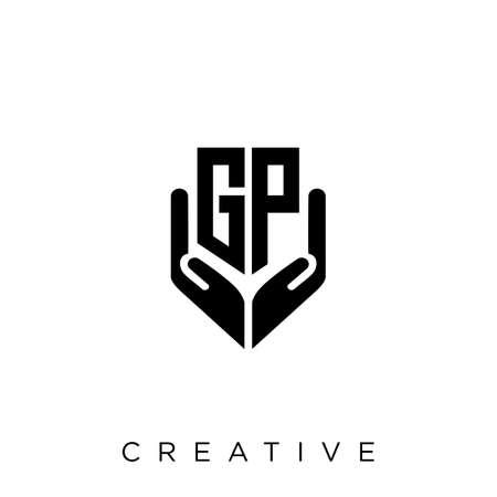 gp hand shield  logo design vector icon symbol luxury