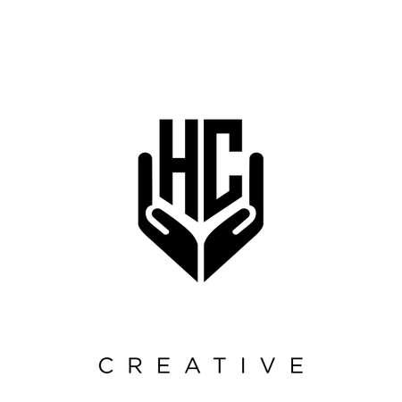 hc hand shield  logo design vector icon symbol luxury