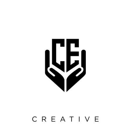 ce hand shield  logo design vector icon symbol luxury Illusztráció