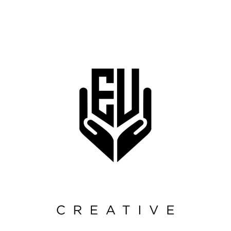 eu or ev hand shield  logo design vector icon symbol luxury Illusztráció