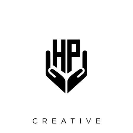 hp hand shield  logo design vector icon symbol luxury