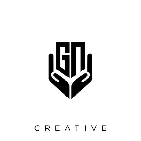 gn hand shield  logo design vector icon symbol luxury