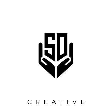 sd hand shield  logo design vector icon symbol luxury Illusztráció