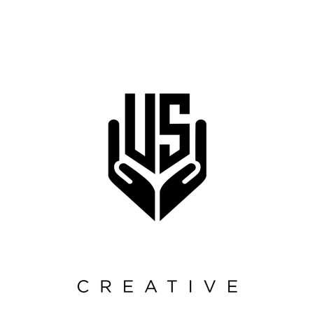 us hand shield  logo design vector icon symbol luxury
