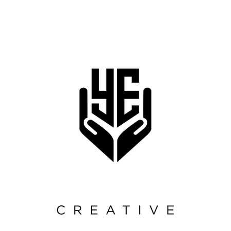 ye hand shield  logo design vector icon symbol luxury