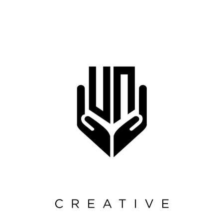 un hand shield  logo design vector icon symbol luxury