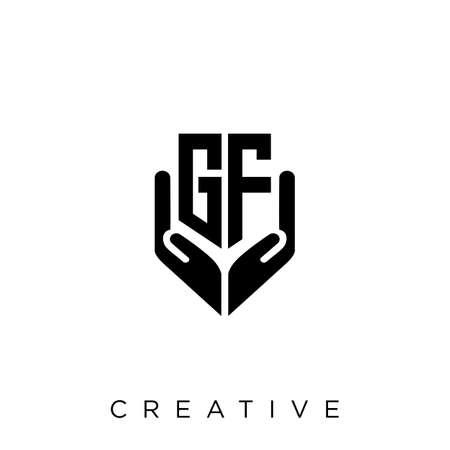 gf hand shield  logo design vector icon symbol luxury Illusztráció
