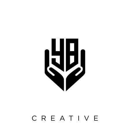 yb hand shield  logo design vector icon symbol luxury Illusztráció