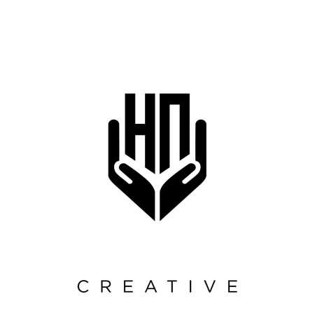 hn hand shield  logo design vector icon symbol luxury Illusztráció