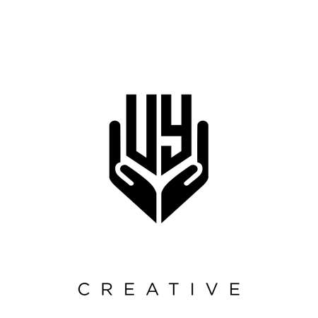 uy hand shield  logo design vector icon symbol luxury