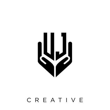 uj hand shield  logo design vector icon symbol luxury