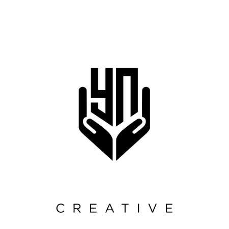 yn hand shield  logo design vector icon symbol luxury