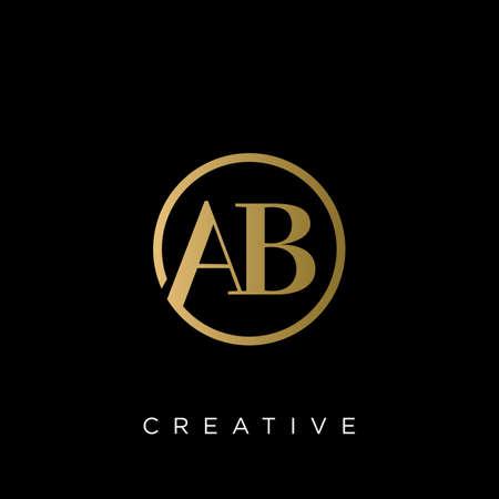 ab luxury logo design vector icon Illusztráció