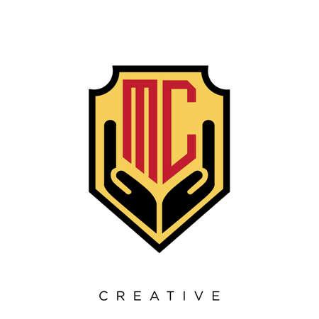 mc shield hand luxury logo design vector icon symbol