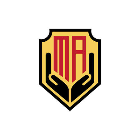 ma shield hand luxury logo design vector icon symbol Illusztráció