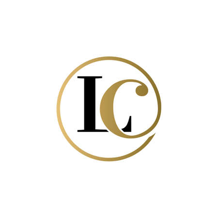 lc luxury logo design vector icon symbol circle Illusztráció