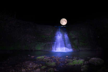 full moon over water fall