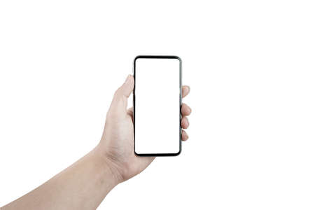 Man hand holding the black mobile phone has a white screen.