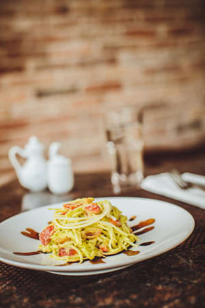 spiralized: Raw spaghetti with zucchini in  the restaurant