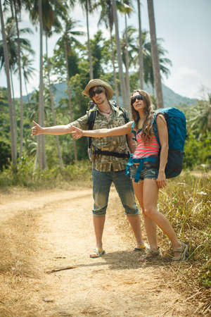 hitchhiking: hitchhiking in the tropics Stock Photo