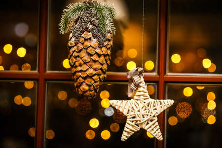 house windows: Window Decorated with Christmas toys