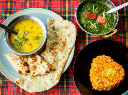 Indian dishes. Rice, dal, Palak paneer and chapatti Banco de Imagens
