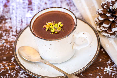 comfort food: Closeup of hot chocolate cocoa , the perfect winter comfort food