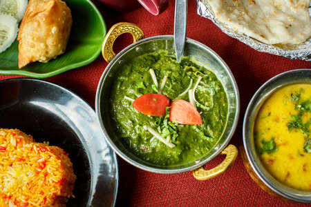 Indian dishes. Rice, dal, Palak paneer, chapatti