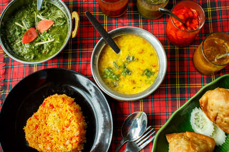 indian food: Indian dishes. Rice, dal, Palak paneer, chapatti