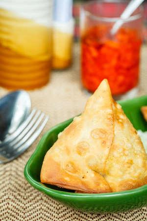 samosa: Samosa. Indian pastries