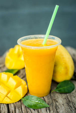 Mango shake. Fresh tropical fruit smoothies