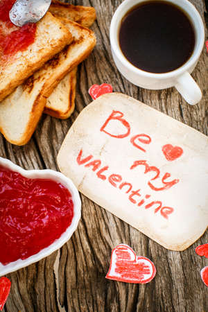 strawberry jam sandwich: Toast with strawberry jam. Be My Valentine white message card with hand made hearts.