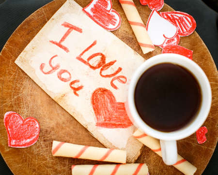 strawberry jam sandwich: Toast with strawberry jam. I love you message card with hand made hearts.