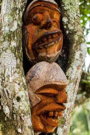 ubud: Coconut mask, symbolizing spirit in Ubud, Bali