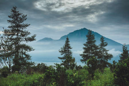 soft peak: Batur volcano and Agung mountain view at morning from Kintamani, Bali, Indonesia