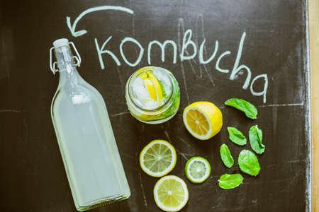 Top view on homemade Kombucha with fruits Banco de Imagens
